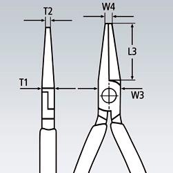 Круглогубцы с плоскими губками с режущими кромками KNIPEX